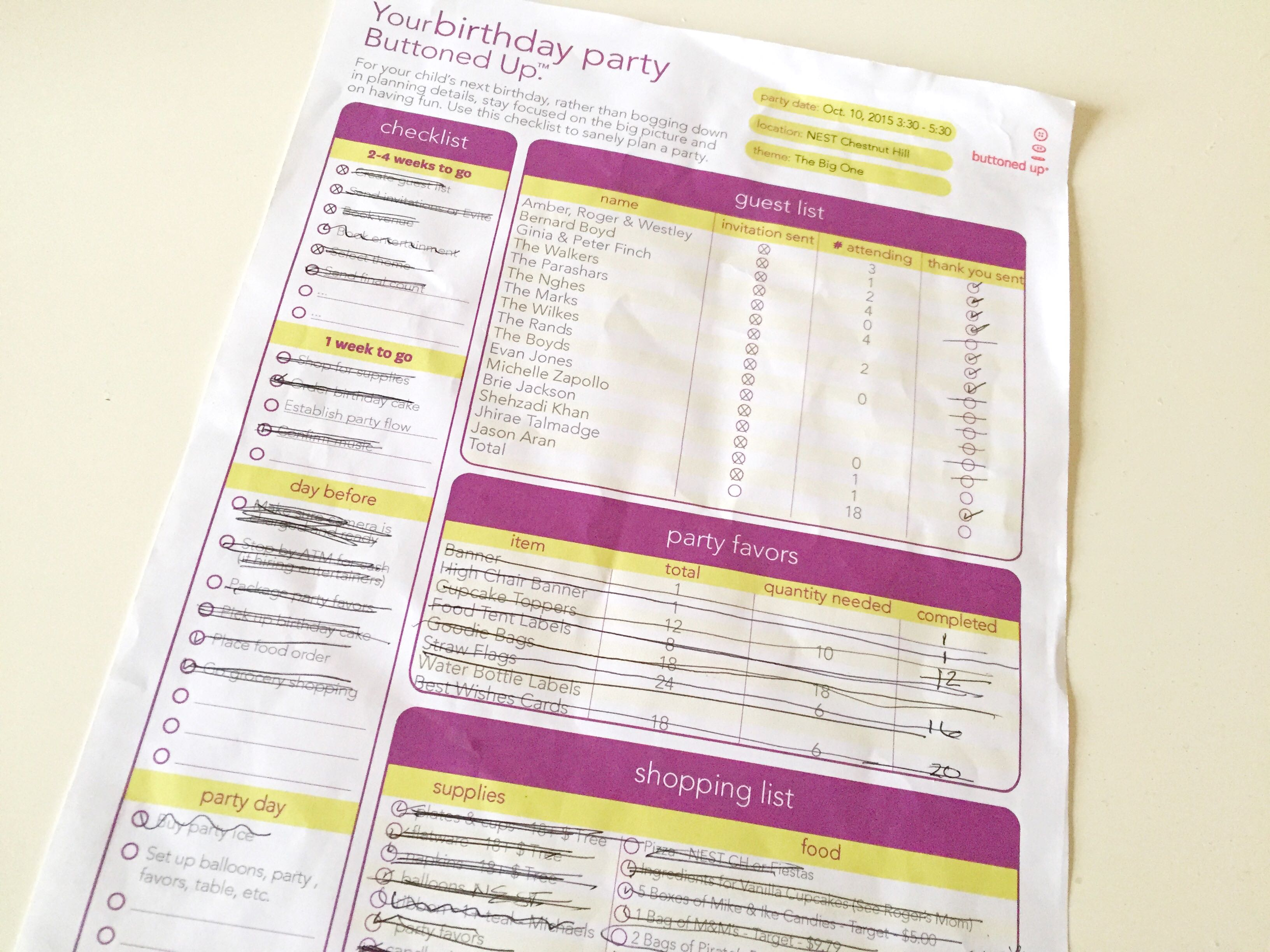 Your First Birthday Party Checklist from Get Buttoned Up