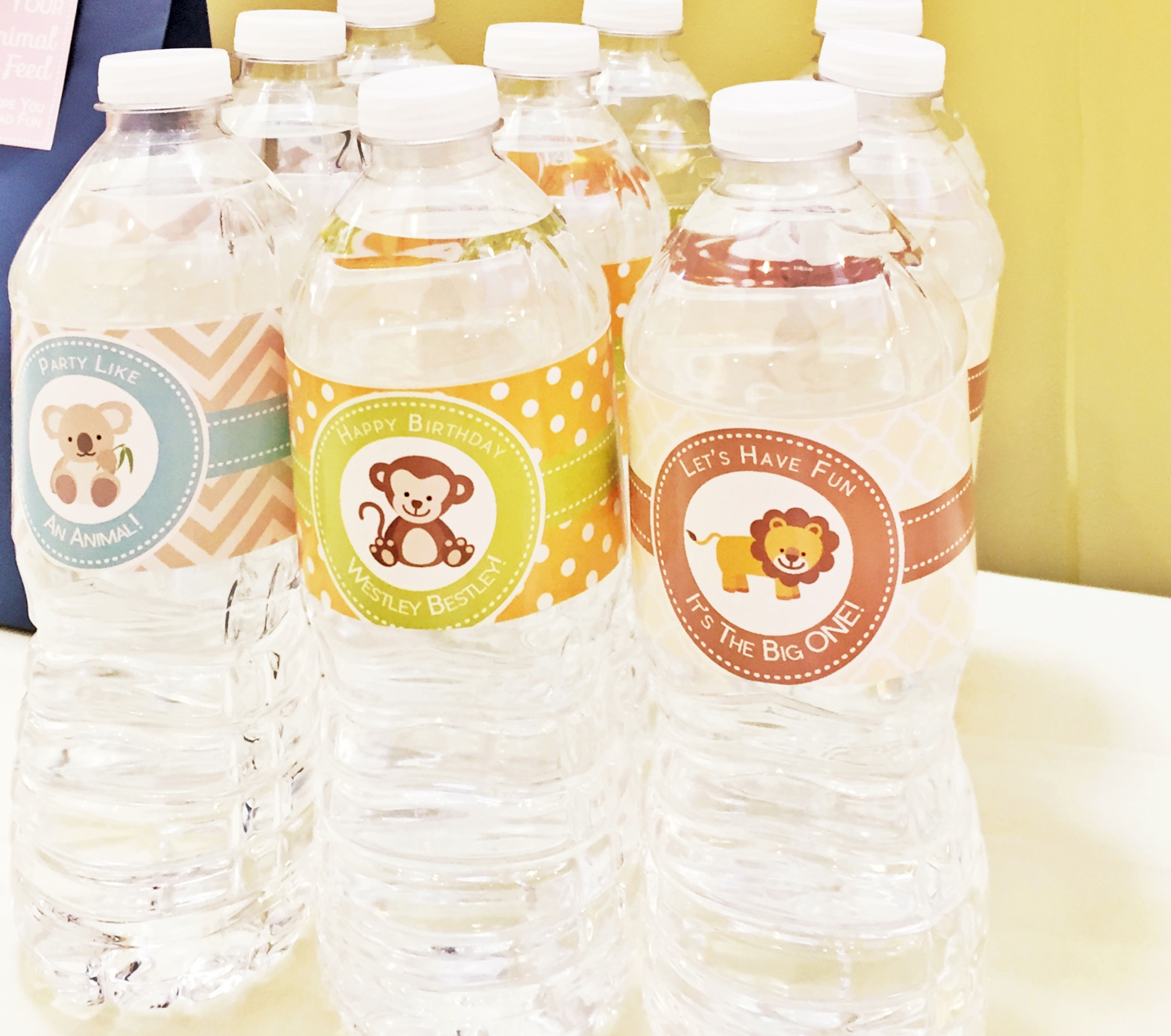 Handcrafted - Watter Bottles for a First Birthday Party