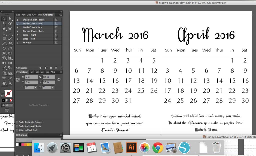 Calendar Design Monthly Spread