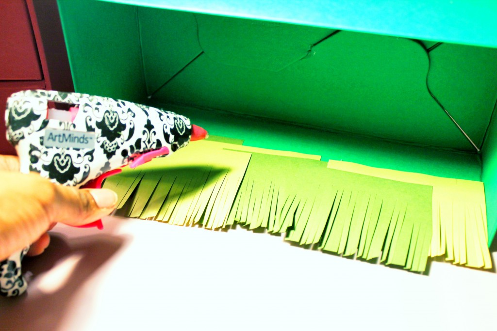 Gluing Grass In Your Personal Zoo For Your DIY Birthday Gift