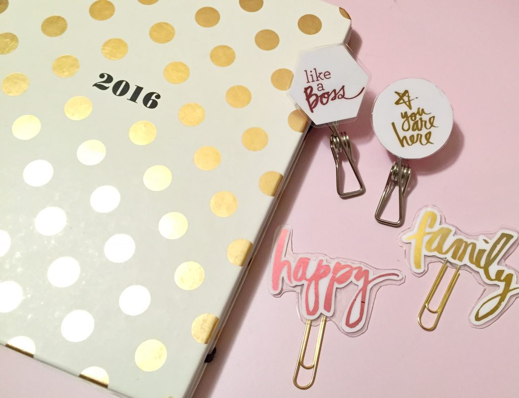 DIY MINC Planner Clips on Kate Spade Planner