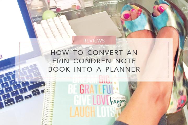 how to convert an erin condren note book into a planner