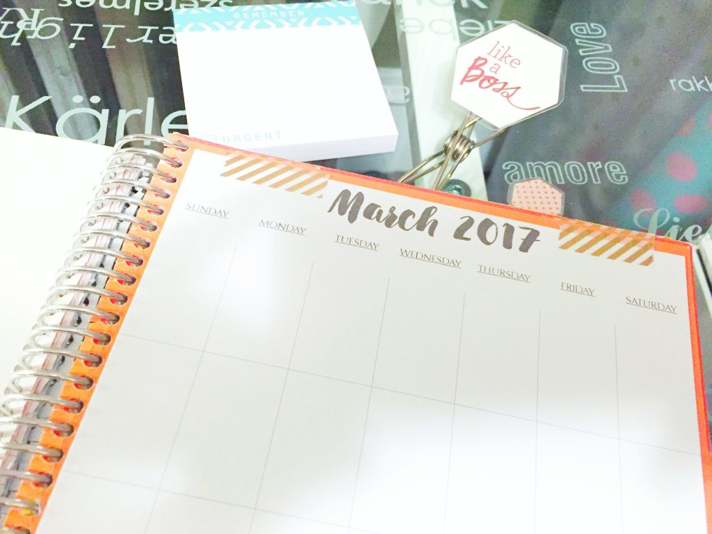 Notebook Planner Monthly Calendar with Washi Tape