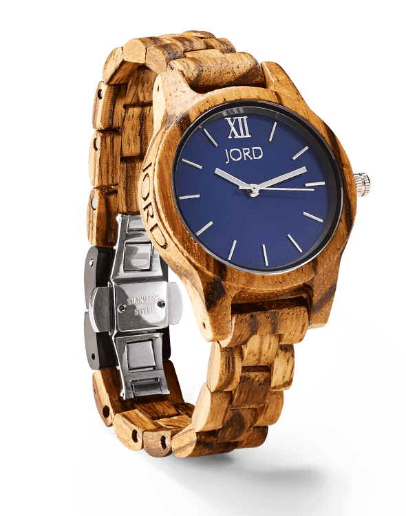My JORD Wood Watch - The Frankie 35 in Navy & Zebrawood