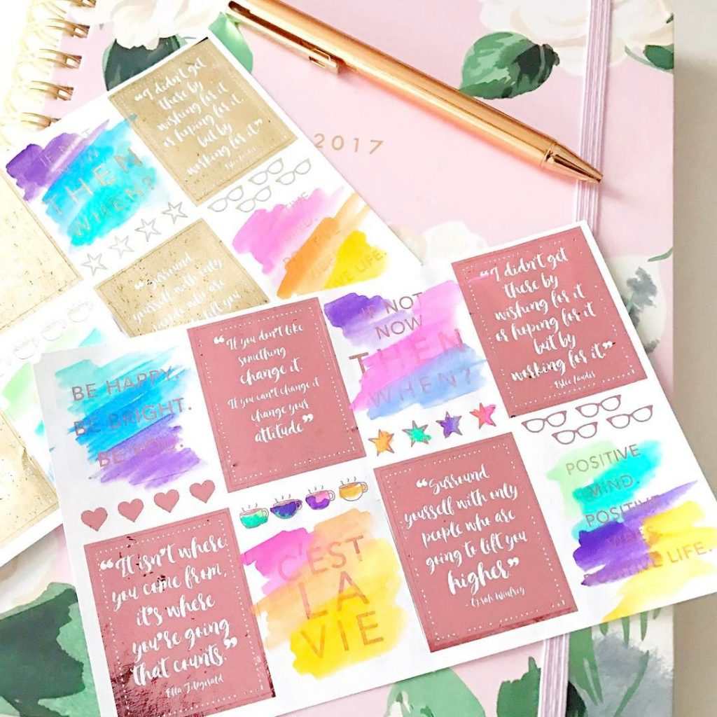 Ooooh! watercolor  mincfoil  happy planner stickers! Thanks amytangerinehellip