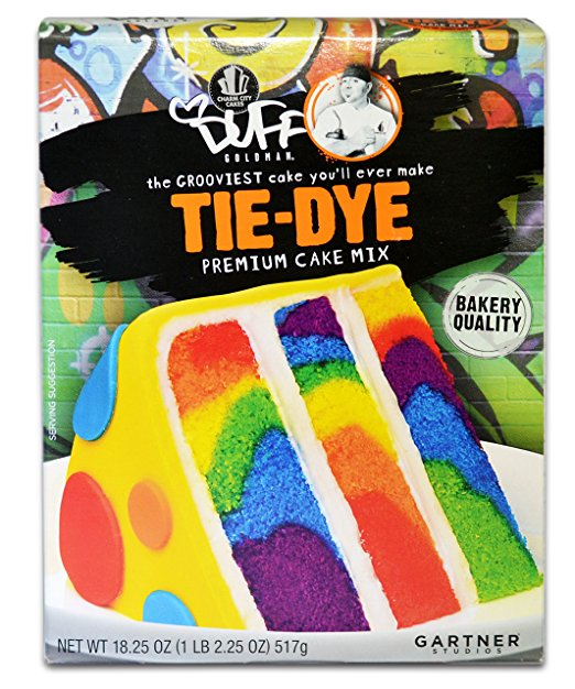 The picture of this yummy cake on the Duff Tie-Dye Premium Cake Mix made it super easy for my 2 yo son to envision what we were making versus a plain box of yellow cake.