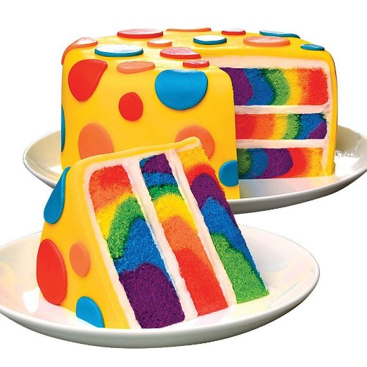 Now that's a fantastic rainbow cake. Make it with Duff Tie-Dye Premium Cake Mix.