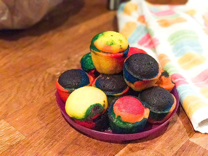 These rainbow cupcakes are perfectly moist and sweet in addition to being teaching tools for preschoolers. (Duff Tie-Dye Premium Cake Mix)