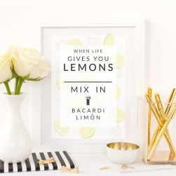 Free Printable When Life Gives You Lemons Mix In Bacardi Limon from @pinkimonogirl for a gallery wall