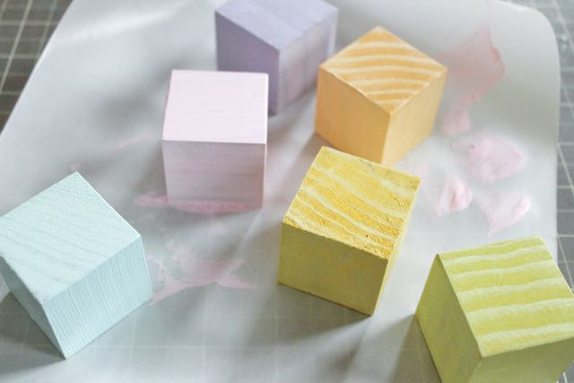 Painted Rainbow Baby Blocks
