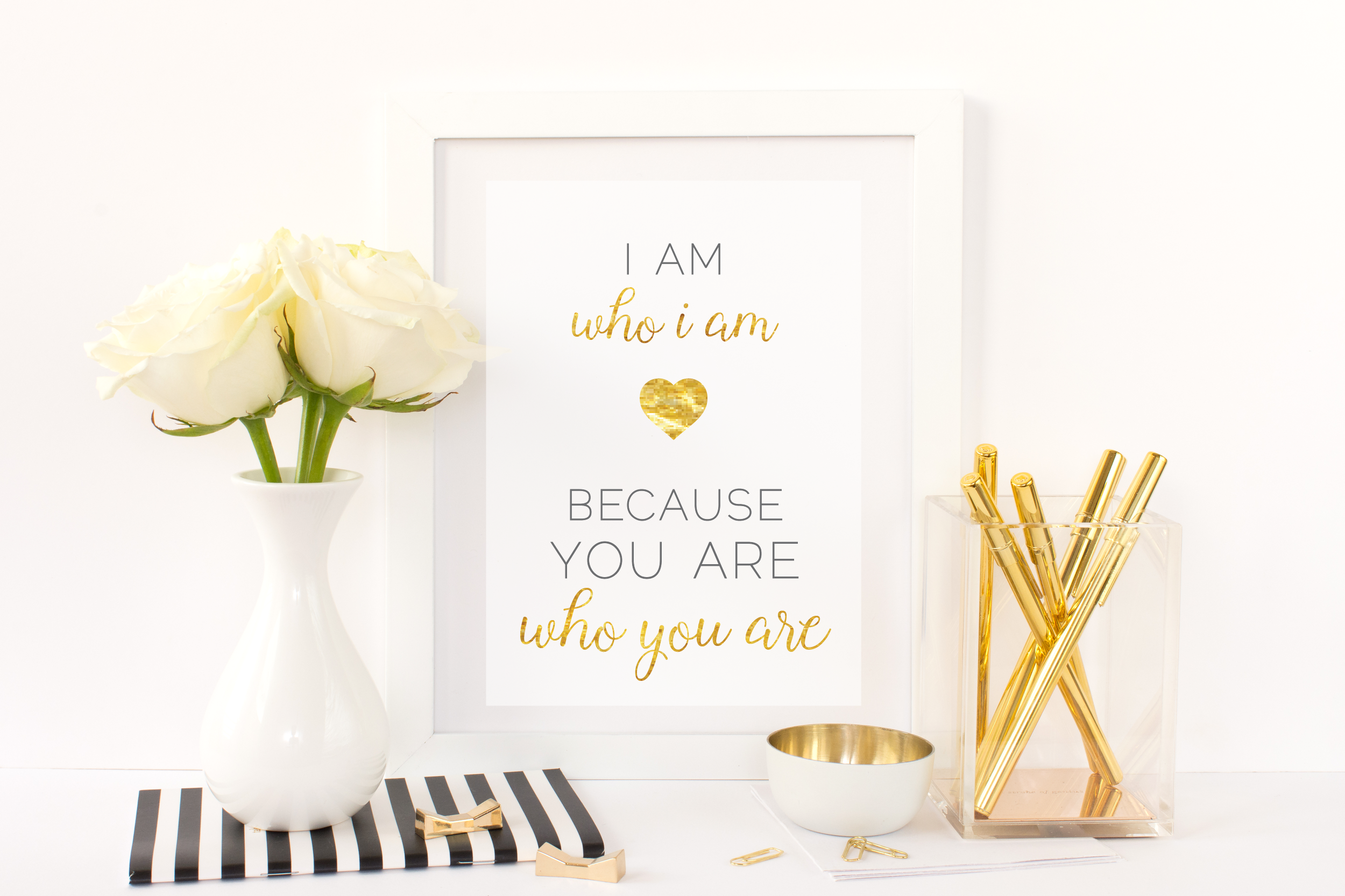Free Printable I Am Who I Am Because You Are Who You Are from @pinkimonogirl for a gallery wall